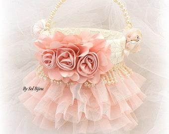 Flower Girl Basket,Blush,Pink,Ivory,Cream,Tutu Basket,Ruffle Basket,Lace Basket,Elegant,Vintage Wedding,Gatsby Style,Pearls,Pearl Handle