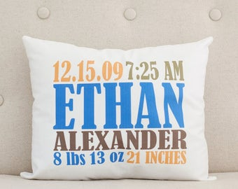 Baby Pillow - Personalized Pillow - Birth Statistics - Birth Announcement - Nursery Decor - Unique Baby Gift - Blue Orange Brown