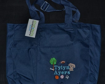 Personalized Large tote bag  Navy Blue  Great DIAPER BAG for baby!