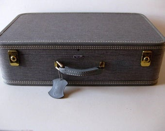 Vintage gray mid-century suitcase Gray luggage