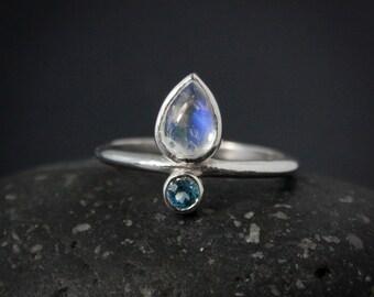 Teardrop Rainbow Moonstone & Birthstone Ring, Choose Your Birthstone, Custom Birthstone Ring