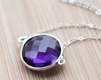 CHRISTMAS SALE Silver Purple Amethyst Quartz Necklace - February Birthstone Necklace