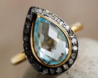 ON SALE 50% OFF Sky Blue Topaz Champagne Diamond Ring - Birthstone Ring