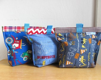 Road Work Upcycled Snack Bag - Reusable Eco Friendly Fabric Baggie / Pouch - Sandwich / Lunch / Treat Bag - Baby / Toddler - Kid School Gift