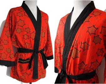 Vintage 50s Kimojama Robe Pleetway Red Modernist Asian Kimono Jacket Cotton Wrap Loungewear L