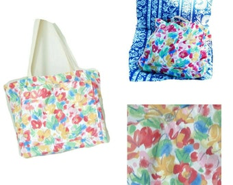 Large Tote - Floral Multicolor - Hand Made - Cotton - Colorful - Bermuda Pattern - Spring Flowers - Shoulder Straps - Beach - UNIQUE