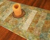 Batik Quilted Table Runner in Shades of Gold and Blue, Quilted Table Topper, Coffee Table Runner, Dining Table Decor, Dresser Runner
