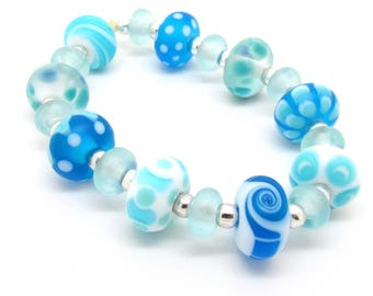 Blue White Lampwork Bead Set, Etched Lampwork, Lampwork Bead Set, UK, SRA