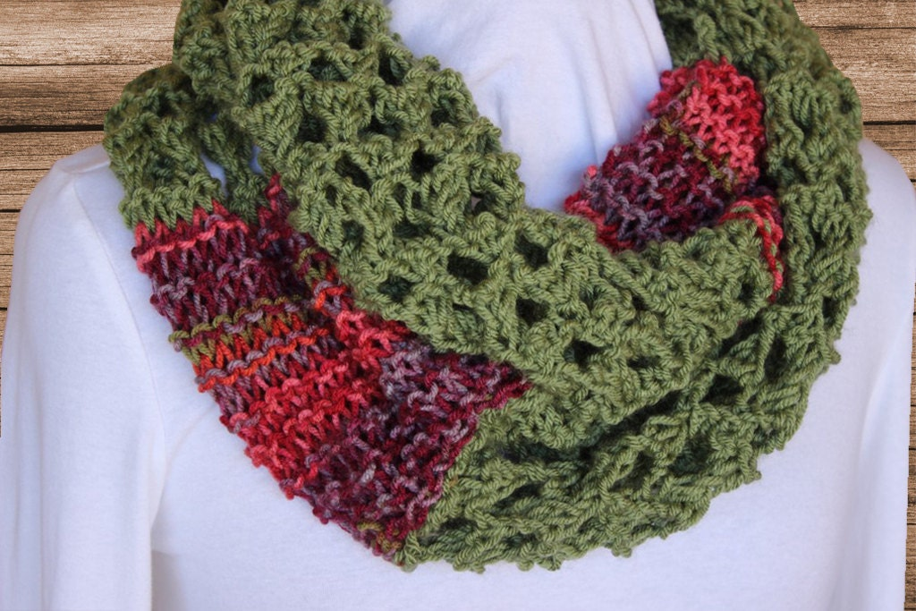 Knit Cowl Pattern Lace and Garter Mobius Cowl Pattern Easy