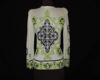 60s mod graphic blouse vintage dragon novelty print silk knit long sleeve top large