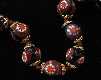 Italian Millefiori Hand Knotted Beaded Bracelet in Black and Brown