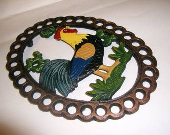 Cast Iron Rooster Kitchen Decor Wall Hanging / Trivet