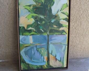 Vintage Original Art Painting Tree Lake Landscape Dock Home Decor Impressionist Style