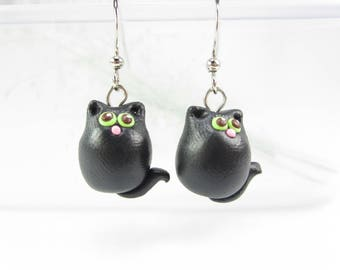 Cat earrings, cat jewelry, black cat earrings, cat charm, polymer clay, cute cat earrings, cat lover gift, womens gift, cute animal earrings