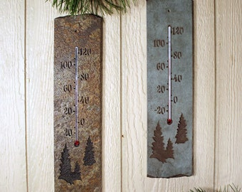 Natural Stone Thermometer - Pine Tree on slate