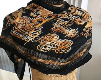 Vintage Versace Paralellogram Scarf in Black and Gold