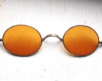 Rare Antique 1800s Sharpshooter Sunglasses // Rare Victorian Amber Sunglass Lenses // Regency 19th Century // Civil War Era // #S10