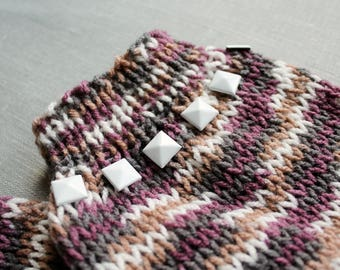 Knitted Legwarmers with White Studs