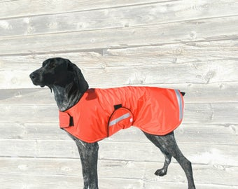 Reflective Dog Raincoat, custom made for your dog with reflective strips for safety