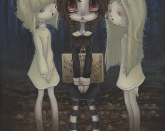 Lowbrow Gothic Ouija Ghost Spirit Board popsurreal print painting - consorting with the dead