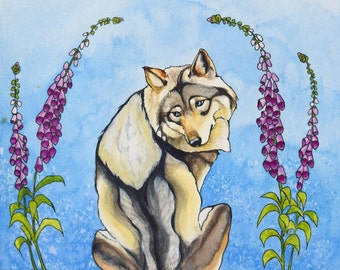 Mrs. Wolf Archival Watercolor Art print, Nursery art print, 8x10, 11x14.