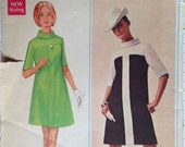 Vintage 60s Dress Pattern 2 Tone 37 bust 1960s Mod Butterick 4742