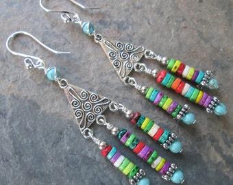 Colorful Howlite & Magnesite Chandelier Earrings - Boho/Hippie/Gypsy Earrings
