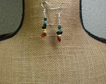 Natural,Blue Turquoise,Red Coral,Yellow Turquoise,Black Onyx, 925 Silver Earrings