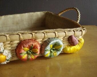 Vintage Fruit Basket or Casserole Basket - Flat Woven Basket with Brightly Colored Vegetable Detailing