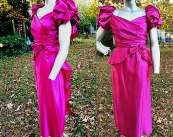 Vintage Bridesmaid Dress, 80s Prom Dress, 80s Costume, Vintage Dress, 80s Dress in Hot Pink Size 0