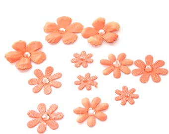 10 Small Salmon Paper Daisy Flowers - Scrapbooking, Hair Flowers, Craft Flowers, Stationary