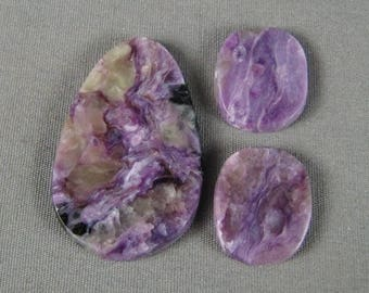 Charoite cabochon SET 3 pcs Purple designer handmade rock beauty