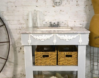 Painted Cottage Chic Shabby Romantic Farmhouse Bathroom Vanity and Sink