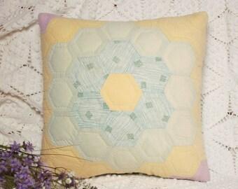 Sweet Little Grandmother's Flower Garden Vintage Quilt Pillow