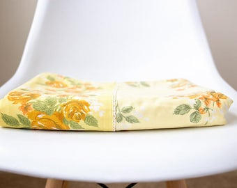 Vintage Yellow Floral Twin Flat Sheet