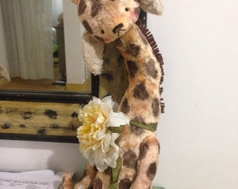 SPRING IS COMING 16 inch Artist Handmade Plush  Teddy Giraffe by Sasha Pokrass
