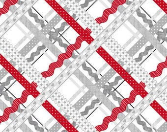 Studio E - Dear Heart - Grey/Red Rickrack Plaid Fabric by the yard 3589S-98