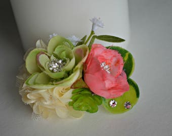 Succulent Floral Dog Hair Bow - SM - French Clip - Alligator Clip - Top Knot