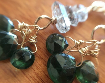 Apatite Heart Briolette Earrings with Rutilated Quartz Nuggets in 14K Goldfill