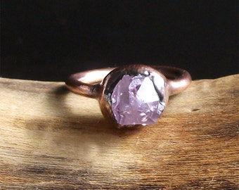 Raw Amethyst Copper Ring Rough Stone Jewelry Raw Crystal Stone Size 5.5 Midwest Alchemy Ring February Birthstone Gemstone Ring