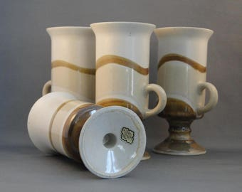 A Set of Four Irish Coffee Mugs Hand Crafted Stoneware Otagiri Original Japan