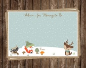 Winter, Forest, Advice Card, Baby Shower, Gender Neutral, New Mommy, Fox, Raccoon, 24 Printed Cards, FREE Shipping, WWOFGN, Woodland Animals