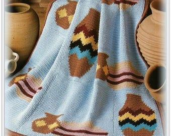 Crochet Afghan Pattern - Southwest Navajo Pottery Design - Pattern CR503419