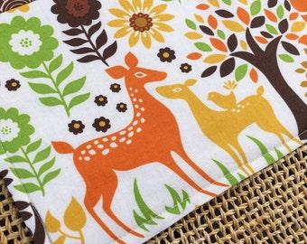 Snack Mat, Mug Rug, Deer Trees Birds Flowers, Woodland Forest Animals