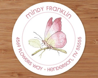 Pink Butterfly Custom Address Labels or Stickers