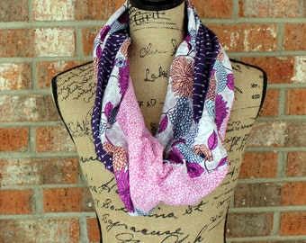 Pink and Purple Colorful Floral Infinity Scarf Neck Cowl Gift Under 15 Ready to Ship