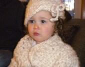 CUSTOM ORDER CATHLEEN - 6-12 mo Crocheted Sweater Cloche Toddler Girl 2T 3T Super Bulky Acrylic Mohair Yarn