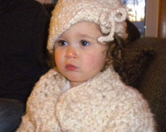 Crocheted Sweater Cloche Toddler Girl 2T 3T Super Bulky Acrylic Mohair Yarn
