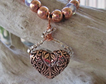 Filigree Pure Copper Heart Pendant Beaded Leather Adjustable Necklace Valantines Day Gift