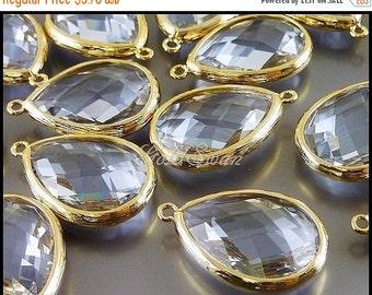 15% SALE 2 light steel blue / pale blue-purple color, large teardrop shape glass stones with bezel bail 5137G-LSB